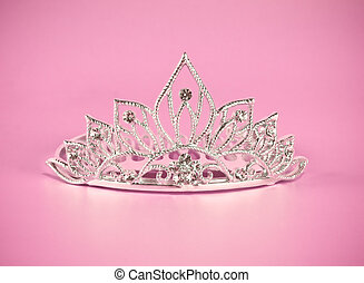 Tiara or diadem on pink background