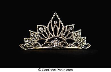 tiara, på, svart fond