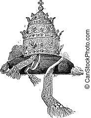 tiara, vendimia, engraving.
