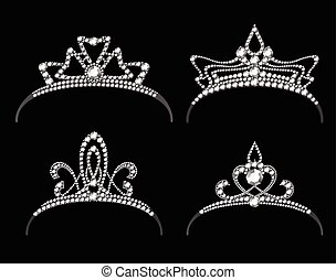 Tiaras and crowns with diamond vector set