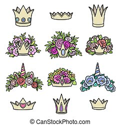 Tiaras various shapes with flowers color picture on white background