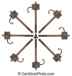 tibétain, roues, -, isolé, prière