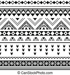 Tibal seamless pattern, white aztec - Vector seamless aztec...
