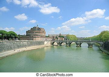 tiber, 天使, 橋, 上に, italy., ローマ, 有名, 聖者, 城, 川, 光景