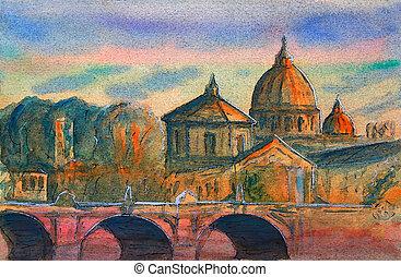 tiber, basiliek, vittorio, emanuele, ponte, italy., rome,...