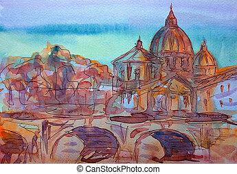 tiber, basilika, vittorio, emanuele, ponte, italy., rom, sant, pietro, vatikan, fluß