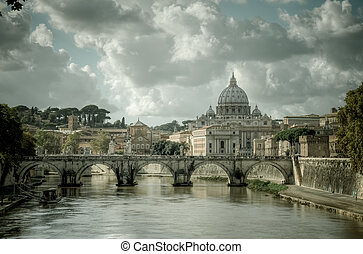 tiber, encima, roma, vaticano, río, vista
