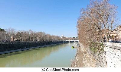 Tiber from Ponte Sisto. Rome, Italy. UltraHD (4K)