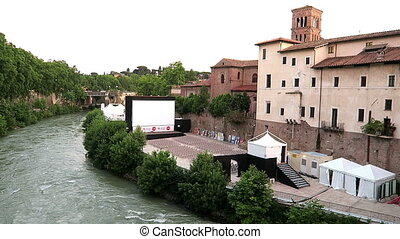 Tiber Island open air cinema Rome. - Rome Italy 17 June...