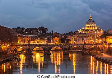 tiber, italia, noche, -, roma, vaticano, río