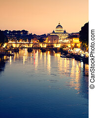 tiber, pietro, angelo, ponte, st., cupola, roma, fiume, crepuscolo, vista