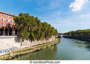 Tiber river on a sunny day in Rome