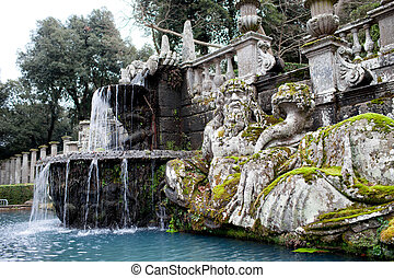 Detail of the Giants Fountain with statue representing the personification of Tiber river. Villa Lante, Bagnaia, Viterbo province, Italy.