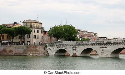 Tiberius bridge landmark Rimini Italy
