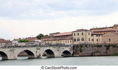 Tiberius bridge Rimini cityscape