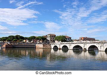 tiberius, bridzs, és, épületek, rimini, olaszország