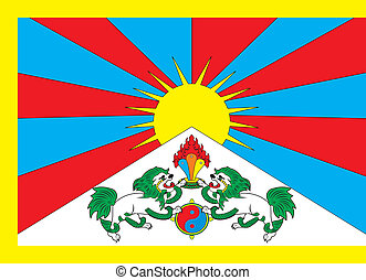 Tibet flag - Various vector flags, state symbols, emblems of...