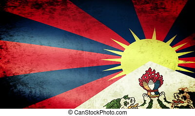 Tibet Flag Waving, grunge look