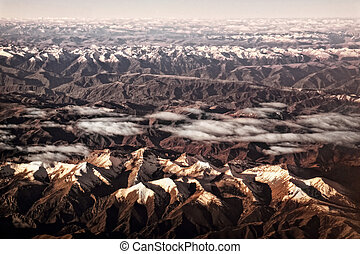 Tibet Lhasa - View from airplane, great Himalayas! Pictures...