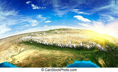 tibet, paisagem, espaço