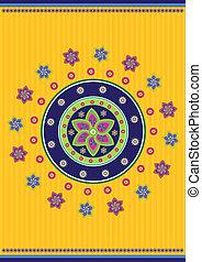 Tibet pattern - Stock Vector Illustration: Flower background