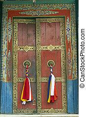 Tibet Style Monastery Door - Old temple door decorated with...