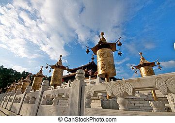 Tibet temple - Pagoda under blue sky in tibet
