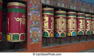 Tibetan buddhist prayer wheels