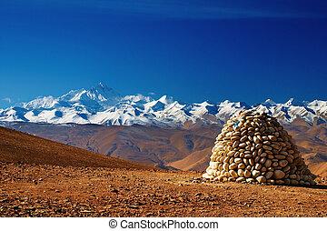 Mount Everest - Tibetan landscape with Mount Everest on...