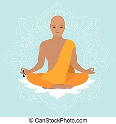 Tibetan monk in an orange robe. Novice yoga. Buddhist in...