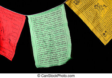Tibetan Prayer Flags - Tibetan prayer flags isolated on...