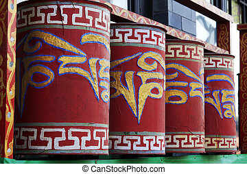 Tibetan rotatable cylindrical structure, closup of photo