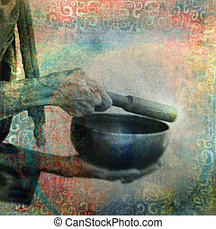 Tibetan Singing Bowl - Ringing a Tibetan bowl. Photo based...
