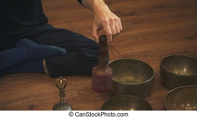 Tibetan singing bowls closeup