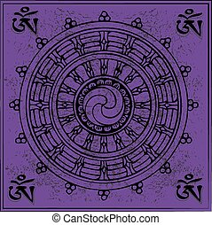 Tibetan symbol, eternal, Buddhism, vector illustration