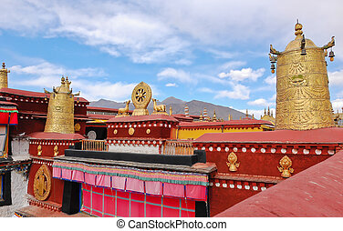 Tibetan temple roof - Decoration on roof of Jokhang temple...