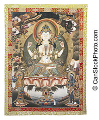 Tibetan thangka with Chenrezig - Inner part (cut out) of...