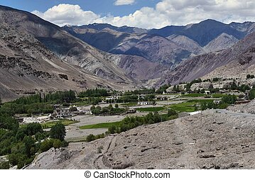 Tibetan village in the high mountains of the valley: among the brown and bard rocks on the bottom of the gorge stretch a green strip of trees, among which fields and peasant houses, Ladakh, Northern India.