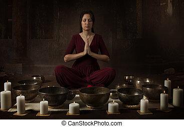 tibetano, donna, giovane, ciotole