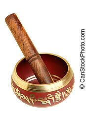 Tibetian singing bowl isolated over white background