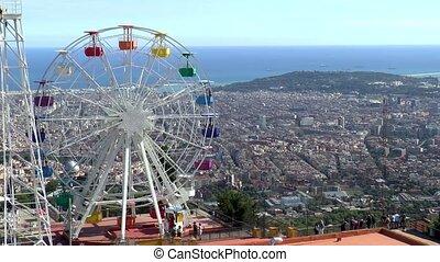 Tibidabo Amusement Park at the top of Mount Tibidabo in Barcelona, Spain.