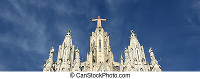 tibidabo, church/temple, auge, tibidabo, colina, barcelona,...