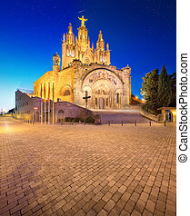 tibidabo, igreja, ligado, montanha, em, barcelona