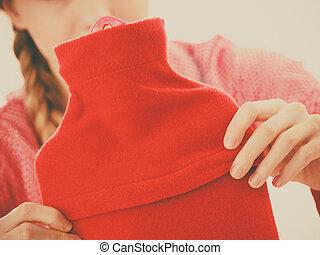 tibio, caliente, tenencia, cantimplora, rojo, mujer