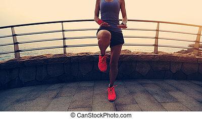 tibio, deportes, playa, estilo de vida, arriba, sano, condición física, mujer, joven