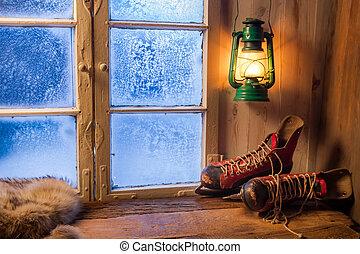 tibio, refugio, en, invierno, helado, día