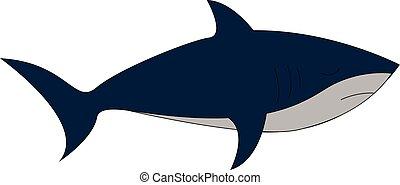 tiburón azul, conjunto, clipart, color, aislado, ilustración, vector, visto, plano de fondo, blanco, o, lado