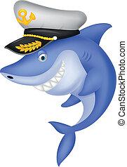 tiburón, capitán, caricatura