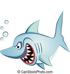 tiburón, carácter, caricatura