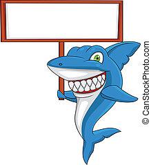 tiburón, con, muestra en blanco